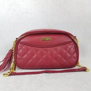 JOY & IMAN Diamond Quilted Genuine Leather Crossbody Small Purse Bag with RFID